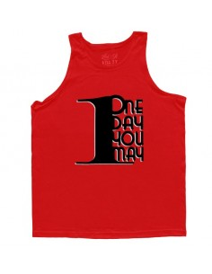 1DAYUMAY MEN'S TANK RED WITH BLACK TOP