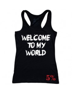 WELCOME TO MY WORLD - NOW GET THE FUCK OUT WOMEN'S TANK TOP BLACK WITH WHITE