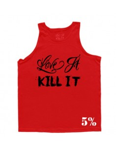 LOVE IT KILL IT - REAL MEN EAT WHATEVER THE FUCK THEY WANT MEN'S TANK TOP RED WITH BLACK
