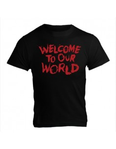 WELCOME TO OUR WORLD T-SHIRT BLACK WITH RED