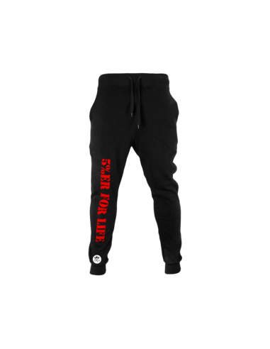 5%ER FOR LIFE BLACK AND RED SWEATPANTS